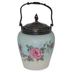 Late 1800's Victorian Satin Glass Biscuit Jar