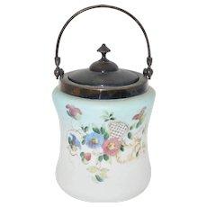Victorian Floral Decorated Satin Glass Biscuit Jar
