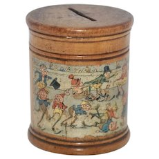 """Late 1800's Treenware Toy Bank - Illustrated with Palmer Cox """"Brownies"""""""