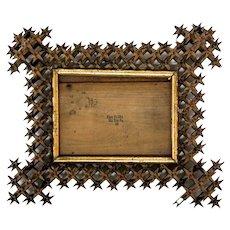"Antique ""Crown of Thorns"" Tramp Art Frame"
