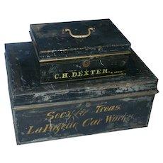 Early 1800's LaFayette Car Works Tin Locking Money Box