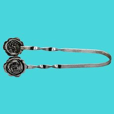 Vintage Sterling Silver Repousse Rose Sugar Cube Tongs