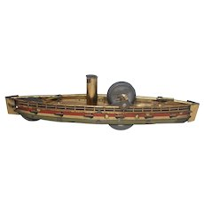 Early 1900's Flywheel Tin Lithographed Toy Battleship - Made in Germany