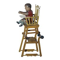Antique German Tin Lithograph Penny Toy - Baby in High Chair