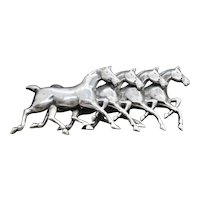 Repousse Silver Horse Pin