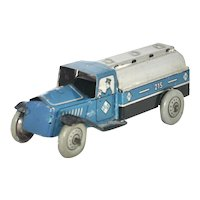 Vintage Post War Germany - Georg Fischer Tin Lithograph Gasoline Tanker Penny Toy