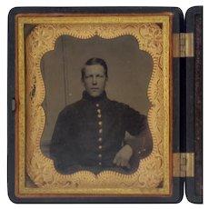 Civil War Union Cavalry Tin Type Photograph in Thermoplastic Case