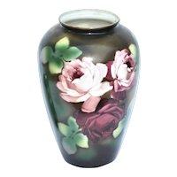 Late 1800's Large Bristol Glass Roses Vase
