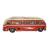 Vintage 1950's US Zone (SG) Gunthermann Sightseeing Tin Litho Windup Toy Bus
