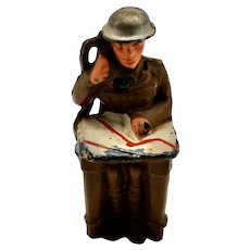 Pre-War Manoil M-85 Soldier Sitting with Phone and Map- Toy Soldier