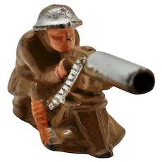Pre-War Manoil M-41 Machine Gunner Sitting - Toy Soldier