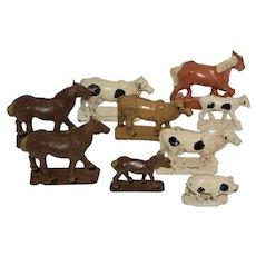 9 Vintage Auburn Rubber Toy Farm Animals