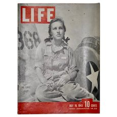 Vintage WWII Life Magazine featuring Woman Pilot - July 19, 1943
