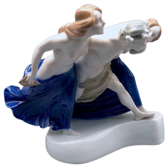 Storming Bacchante Figurine, Rosenthal 1920s, designed by Albert Caasmann Faun Nymphs