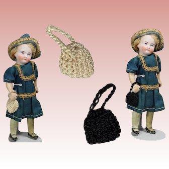 Antique Store Stock Mini Crochet Doll Purses - Mignonette Size!