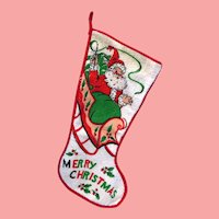 Vintage 50s Terrycloth Christmas Stocking Nice shape and Ready to use!