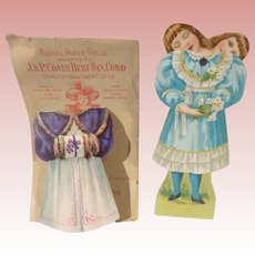 Coats Radial Three Head Two Sided Paper Doll with Extra Dress Original Envelope