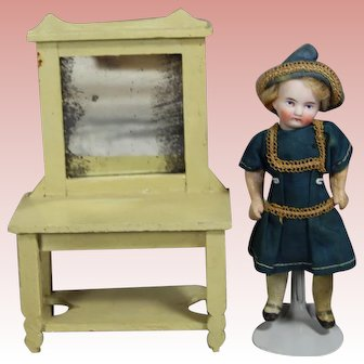 Antique German Dollhouse Doll Vanity w Mirror!