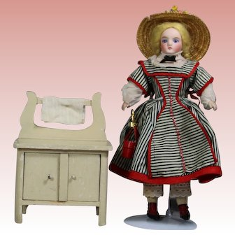 Antique German Dollhouse Doll Washstand!