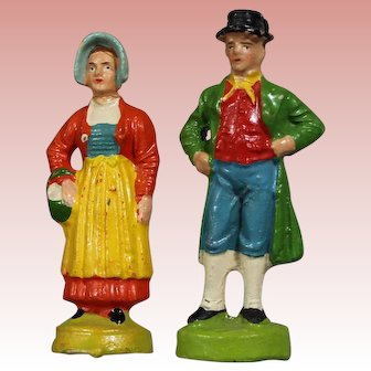 Vintage German Elastolin Putz Man & Woman Switzerland Costume