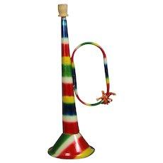 Vintage 1930s Tin Litho Toy Horn Trumpet!