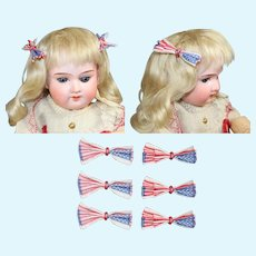 6 Vintage Doll Sized Tiny Patriotic Red White Blue Flag Bows!