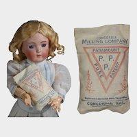 Antique c1910s Mini Doll Advertising Flour Sack Concordia Milling Co.
