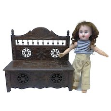 Antique Brittany Carved Wooden Doll Sized Bench
