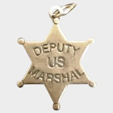 Tiny Sterling Silver Deputy Marshall Badge for Dolls