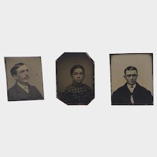 Three Antique Miniature Tintypes for French Fashion, Mignonette or Doll House