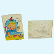 Vintage 2 Sets 1954 Dolly and Me Invitations Never Opened (10 Invitations)
