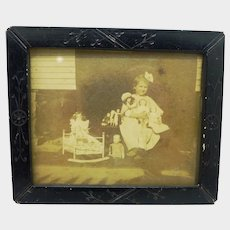 Antique Victorian Frame and Doll Picture Under Glass