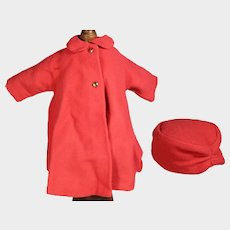 """Vintage 1960s Mme Alexander Fashion Coat & Hat 18"""" Doll - Very Jackie Kennedy!"""