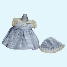 """Vintage Mme Alexander 8"""" Tagged Little Genius Doll Blue Gingham Outfit!"""