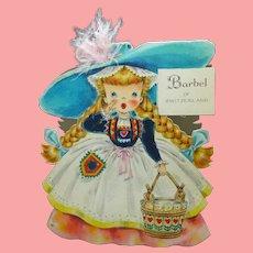 MINT 1947  Hallmark Doll Card Barbel International Series Unused
