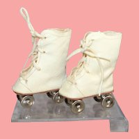 Darling Vintage Oil Cloth Doll Roller Skates!