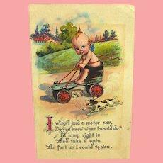 Original 1915  Kewpie Postcard Roller Skates and Dog