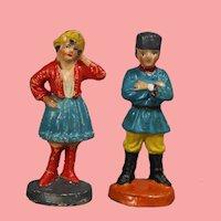 Vintage German Elastolin Putz Man & Woman Russian Costume