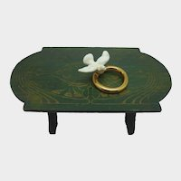 Rare Hertwig Bisque Wedding Ring and Dove Miniature, Cake Topper