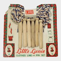 Vintage Doll Sized Little Lassie Clothes Line Pins for Dolly's Laundry!