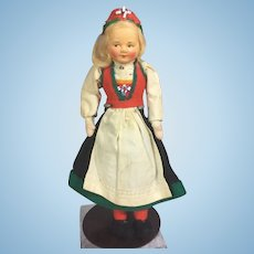 Vintage Ronnaug Petterssen Cloth Doll from Norway! Hardanger Costume