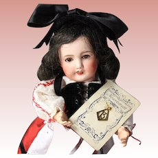 "Antique Bleuette Doll Size French ""B"" Charm on Orig Nouveaute Card!"