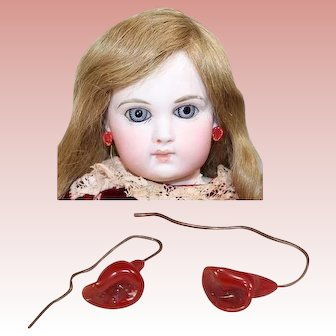 Gorgeous Antique French Fashion Doll Floral Earrings RED Color! LAST PAIR