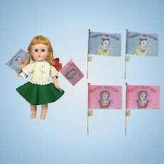 4 Darling Vintage Doll Sized Happy Birthday Flags!
