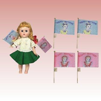 4 Darling Vintage Doll Sized Happy Birthday Flags!