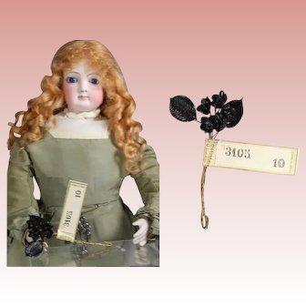 Antique French Fashion Doll Mourning Flower Bouquet w Paris Label