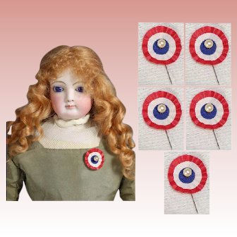 5 Vintage Doll Red White Blue French Flag Cockade Ribbons!