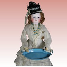 Antique French Doll Blue Enamel Casserole Dish for Dolly's Kitchen!
