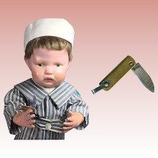 Early Vintage Mini Doll Size Metal Folding Pocket Knife RAT Brand Salesman Sample