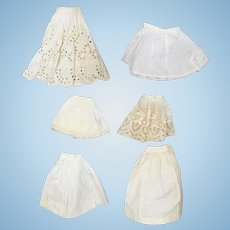 Antique Doll Whites!  6 Doll Cotton Slips!